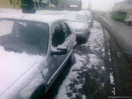 В Минске посыпали дороги и машины - фото 3